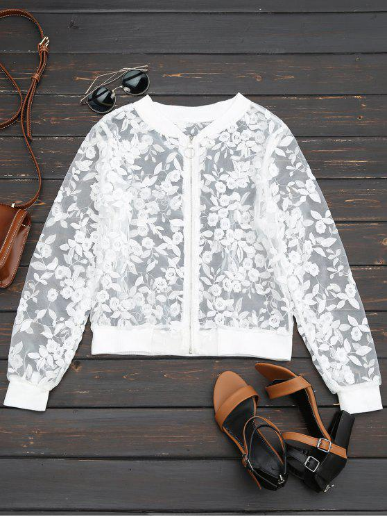 fashion Sheer Floral Embroidered Zip Up Jacket - WHITE L