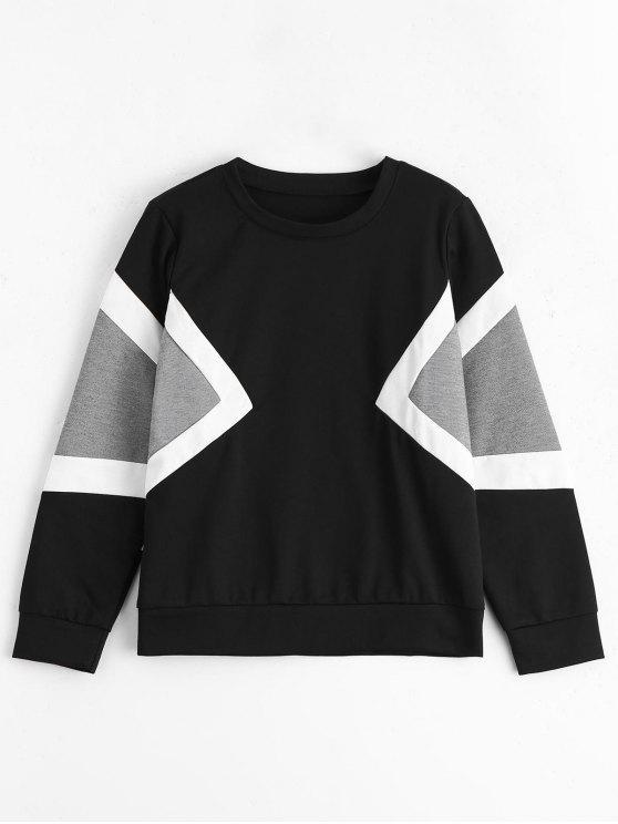 Mangas largas de contraste sudadera pullover - Multi Única Talla