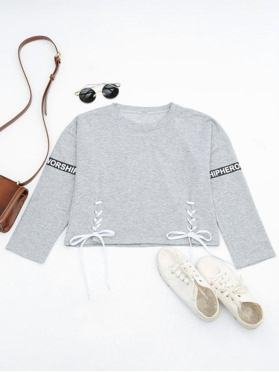 shops Letter Print Lace Up Sweatshirt - LIGHT GREY ONE SIZE