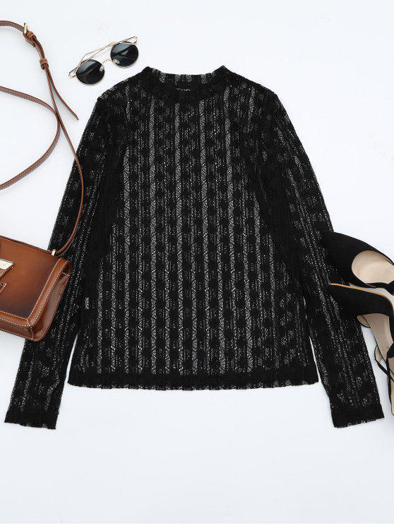 shop Sheer Long Sleeve Lace Blouse - BLACK ONE SIZE