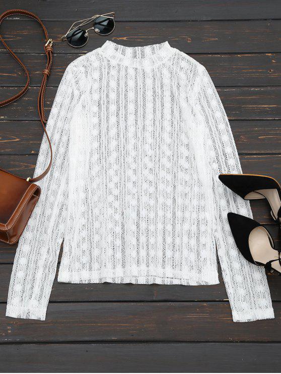 Blusa de encaje de manga larga transparente - Blanco Única Talla