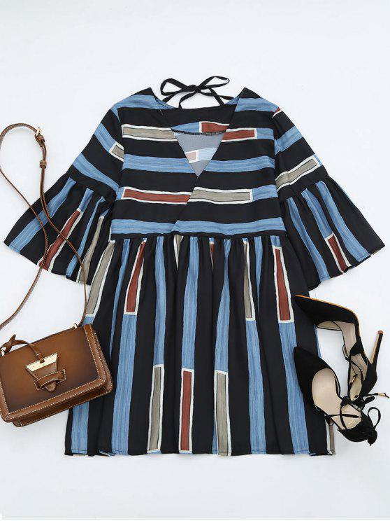 online Bell Sleeve V Neck Striped Dress - STRIPE ONE SIZE