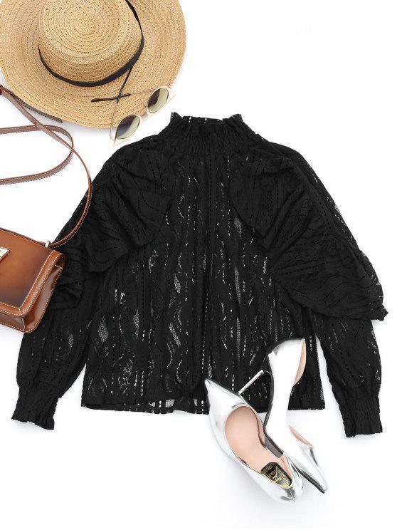 sale Ruffle Hem Sheer Blouse - BLACK L