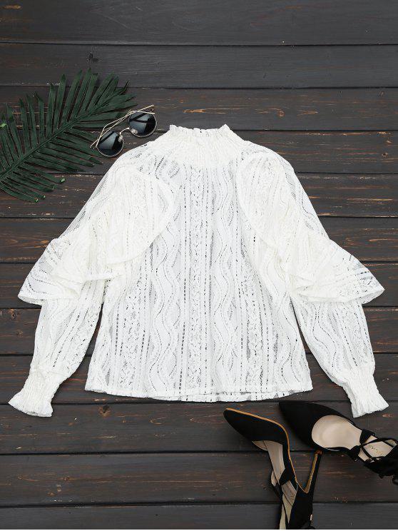 latest Ruffle Hem Sheer Blouse - WHITE XL