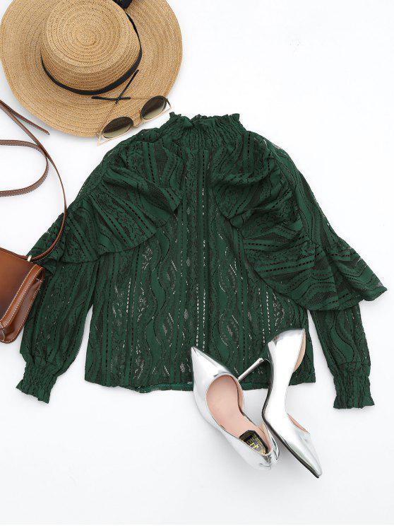 Blusa transparente de hebilla - Verde negruzco M