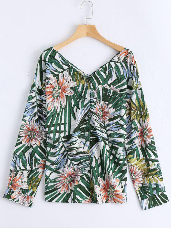 Botón de impresión floral hasta la blusa de bolsillo - Verde Única Talla