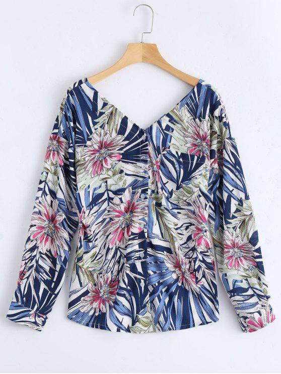 trendy Floral Print Button Up Pocket Blouse - BLUE ONE SIZE