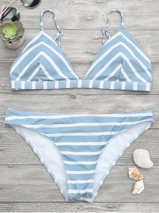 Juego de bikini rayado Chevron Cami - Azul y Blanco S