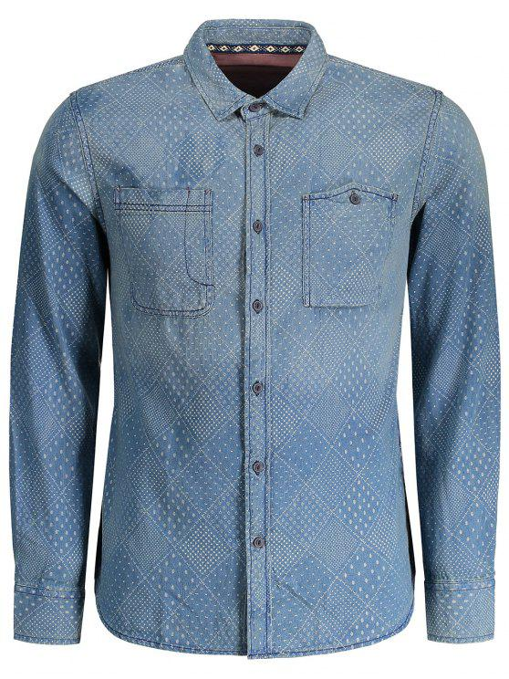sale Mirco Patterned Washed Mens Denim Shirt - INDIGO M