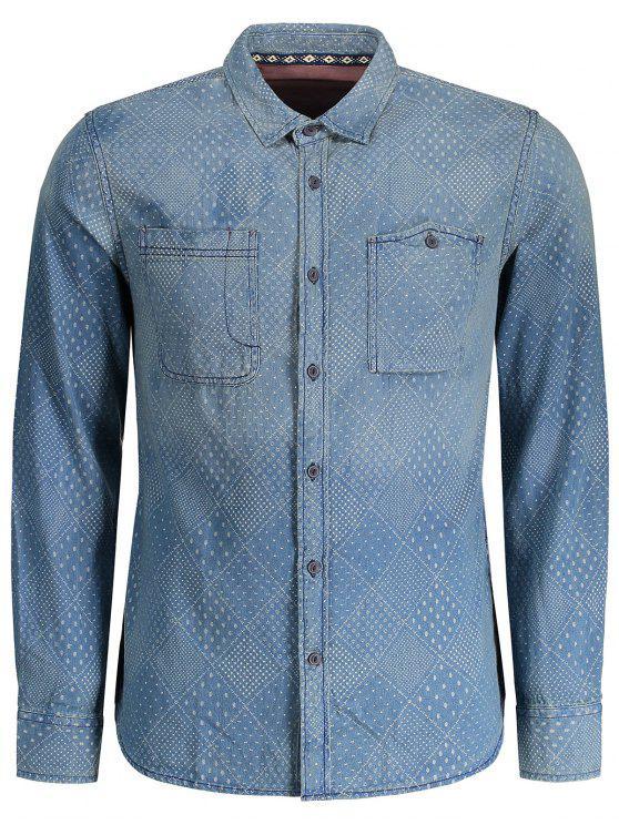 ميركو منقوشة غسلها رجل الدنيم قميص - اللون النيلي XL