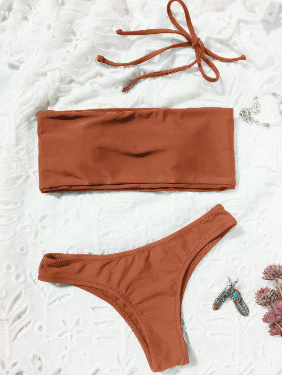 outfits High Cut Bandeau Thong Bathing Suit - BRICK-RED M