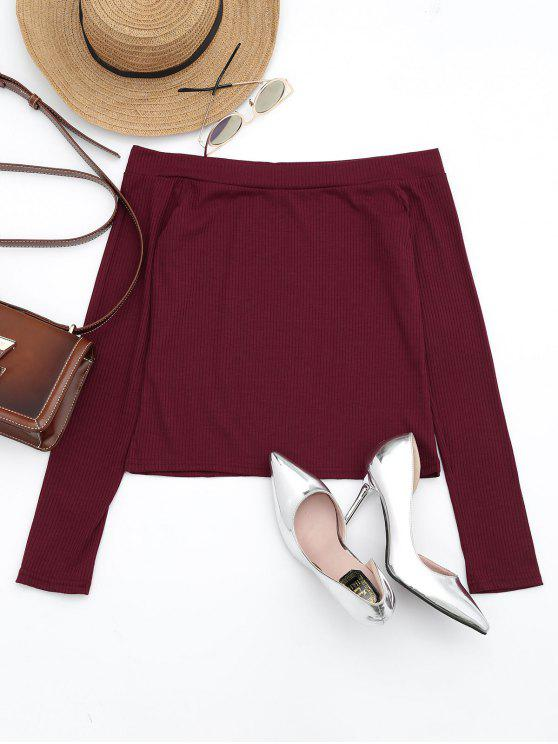 fashion Off The Shoulder Long Sleeve Crop Tee - DARK RED S