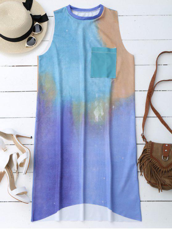 Casual Tie Dyed Midi Vestido - Multicolor L