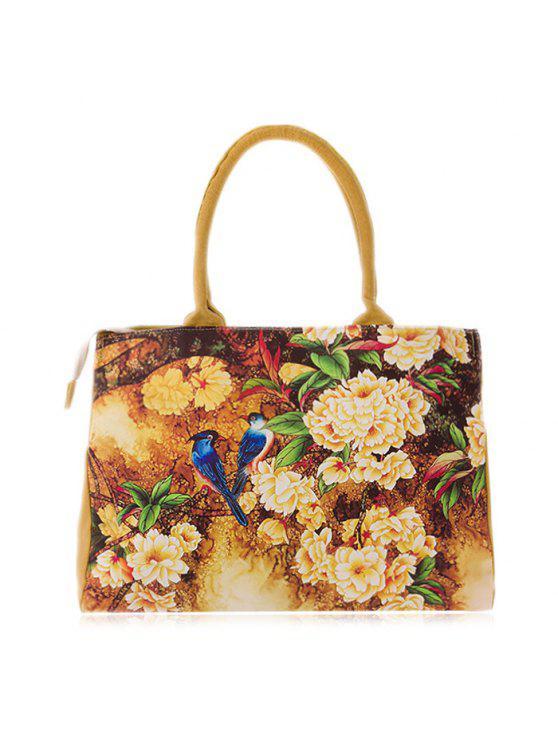زهرة المطبوعة قماش حقيبة يد - ديب الأصفر