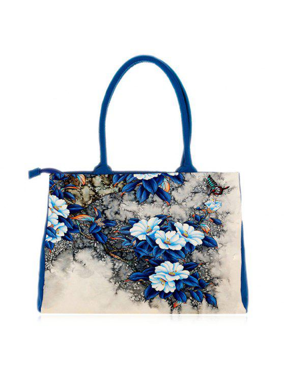 best Flower Printed Canvas Handbag - BLUE