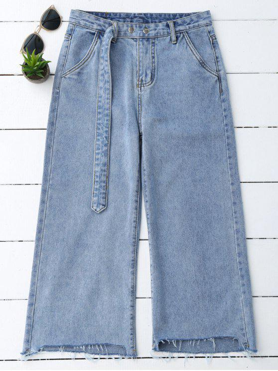chic High Low Hem Cutoffs Wide Leg Jeans - DENIM BLUE S