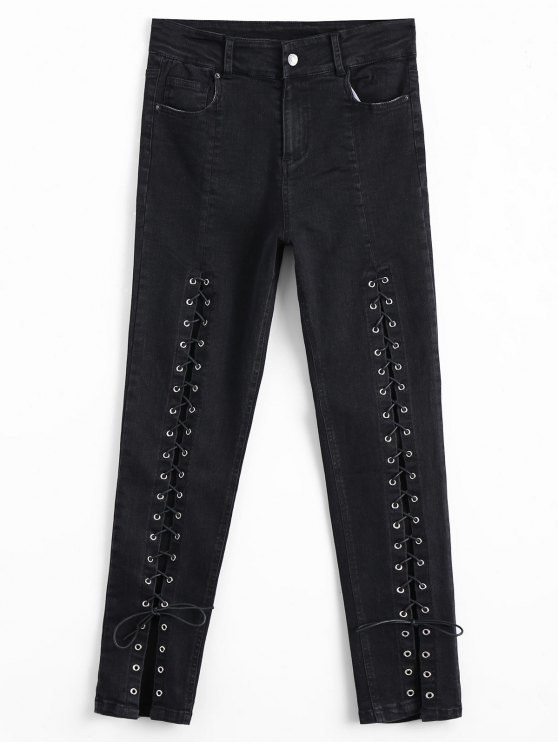 new High Waisted Lace Up Pencil Jeans - BLACK L