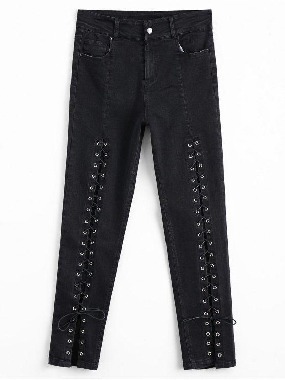 High Waisted encaje hasta Jeans lápiz - Negro M