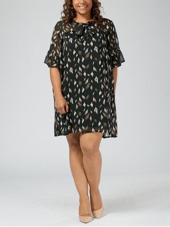 2018 Plus Size Printed Pussy Bow Chiffon Mini Dress In Black 3xl Zaful