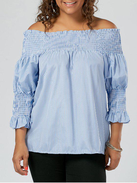 838a7637dfa0f 21% OFF  2019 Plus Size Striped Ruffled Off The Shoulder Top In BLUE ...