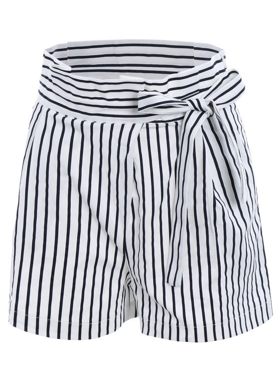 online Striped Paperbag Shorts - WHITE M