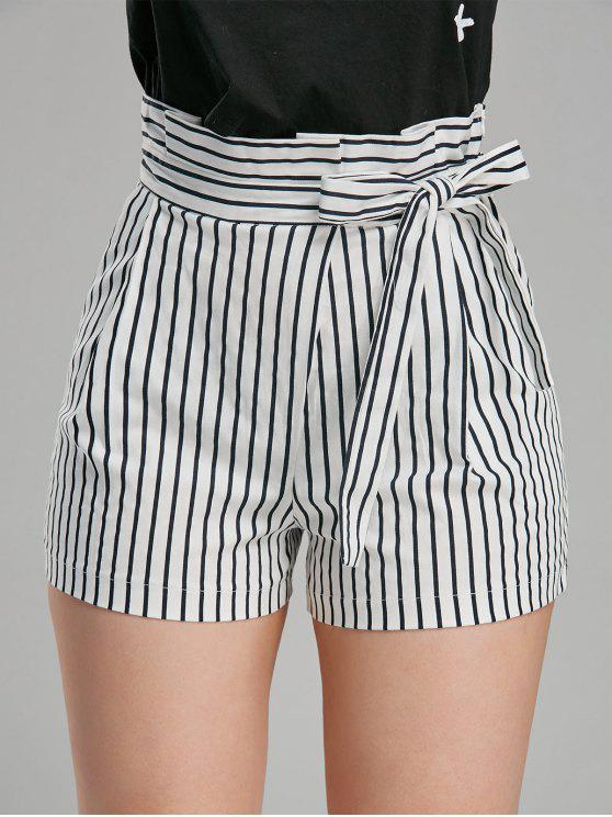 women High Waisted Belted Striped Paperbag Shorts - STRIPE S