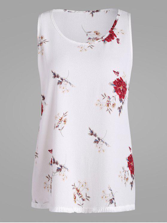 chic Floral Plus Size Chiffon Top with Tassel Trim - WHITE 2XL