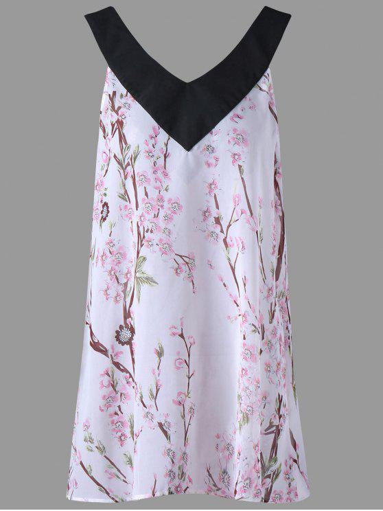 buy Floral Print Plus Size Sleeveless Top - WHITE 5XL