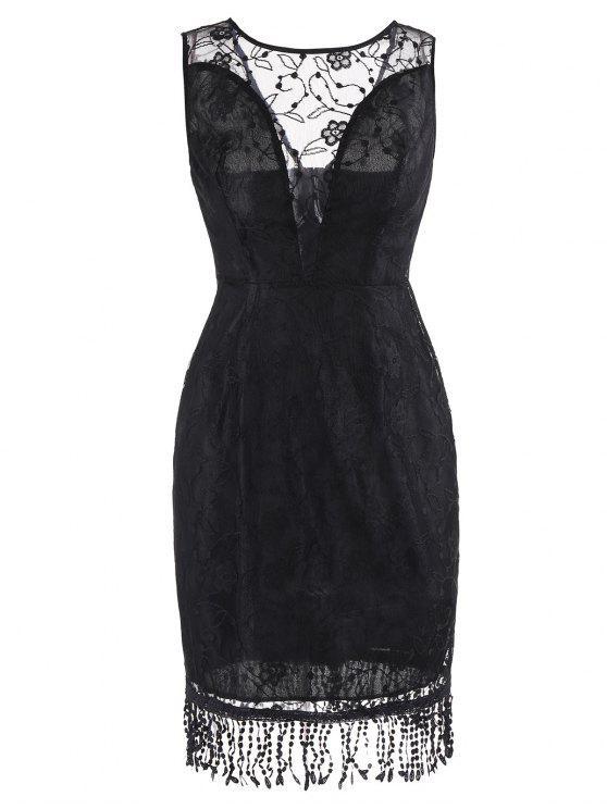 فستان دانتيل هامشي بلا أكمام - أسود 2XL