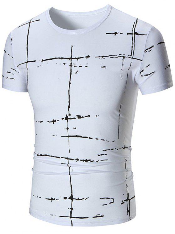 T-shirt à manches courtes à imprimé peint - Blanc 4XL