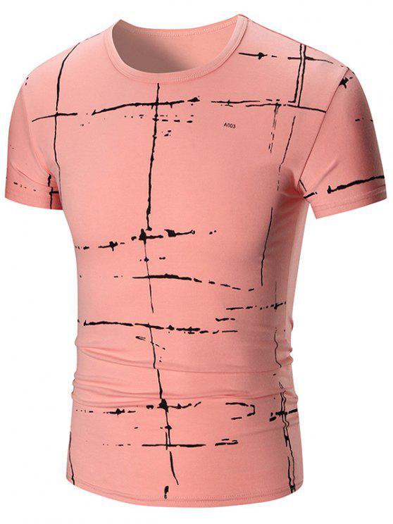T-shirt manica corta con stampa verniciata - Rosa 5XL