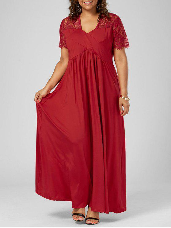 V Neck Lace Trim Plus Size Formal Dress RED: Plus Size Dresses 5XL ...