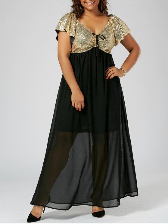 Plus Size Sequined Empire Waist Flowing Dress GOLDEN