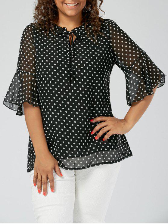 2018 Plus Size Polka Dot Chiffon Semi Sheer Blouse In Black 4xl Zaful