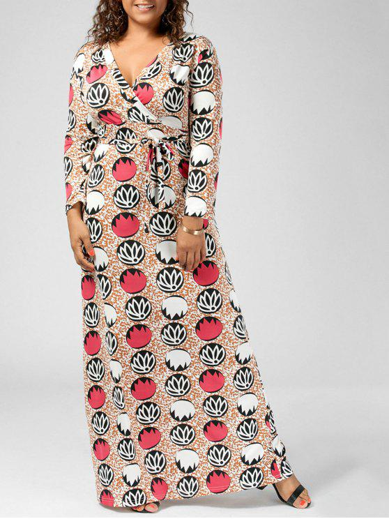 فستان الحجم الكبير غارق الرقبة - متعدد 5XL