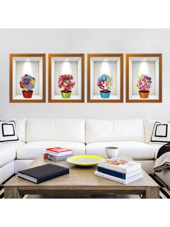 4 قطعة / المجموعة زهرة الفن إطار الصورة الجدار ملصق - Colormix 60 * 90CM