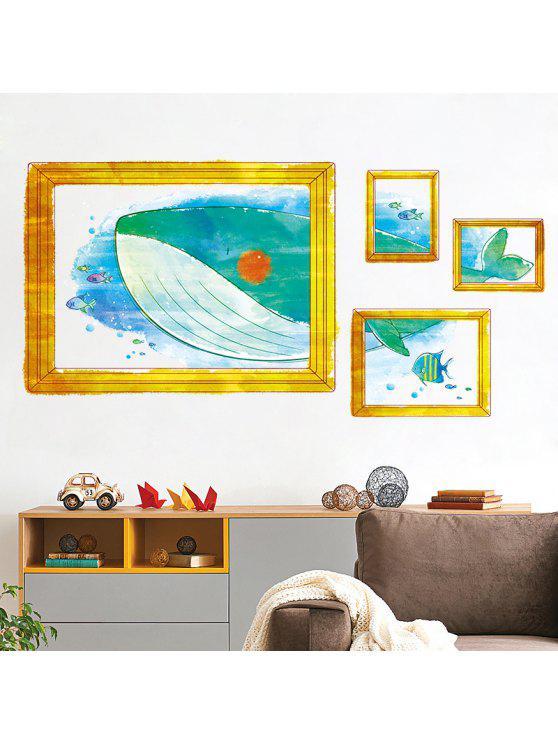 إطار الصورة الكرتون الحوت غرفة الاطفال الجدار ملصق - Colormix 50 * 70CM