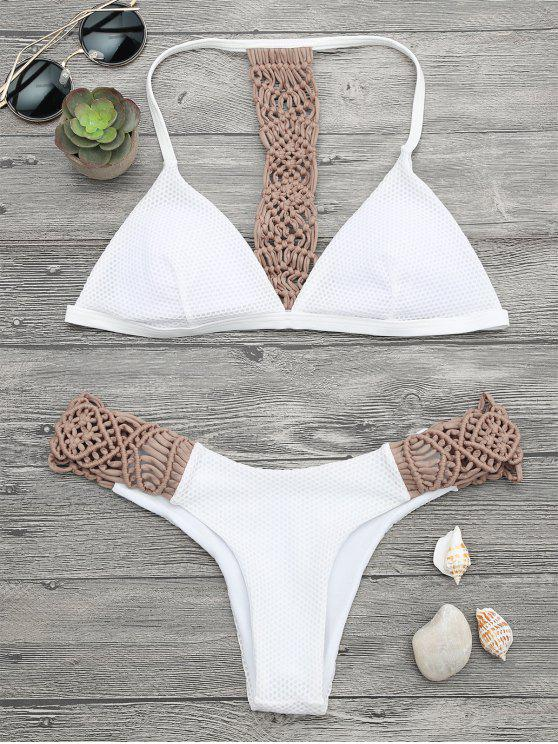 fancy Padded Macrame Fishnet Bikini Set - KHAKI S
