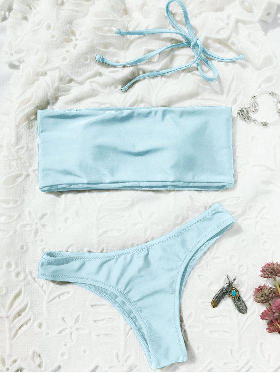 womens High Cut Bandeau Thong Bathing Suit - LIGHT BLUE S