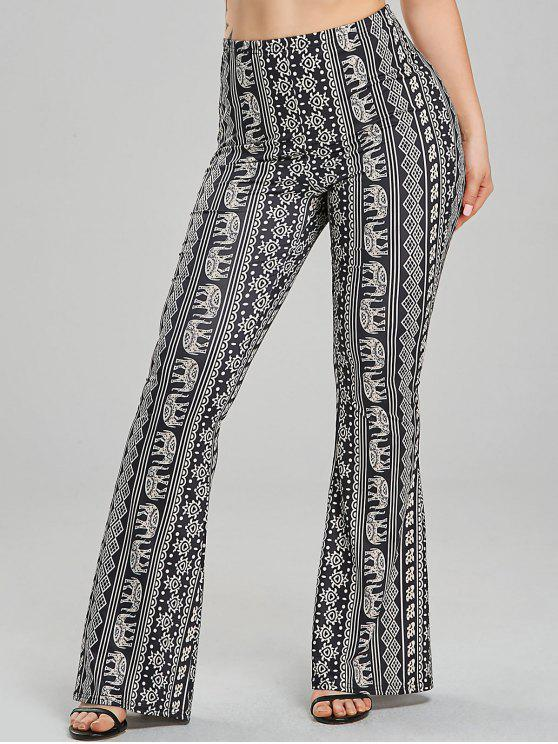7e49946fe3a9 28% OFF  2019 African Elephant Print Flare Pants In BLACK