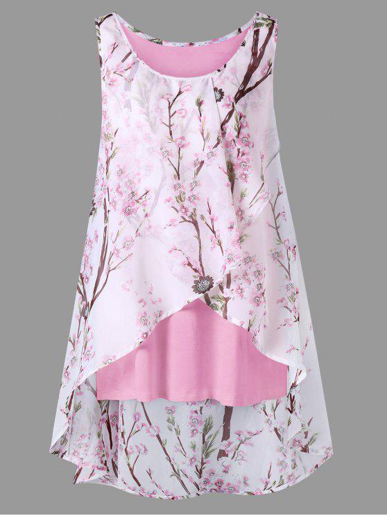 توب الحجم الكبير طباعة الأزهار المصغرة بلا أكمام - وردي فاتح XL