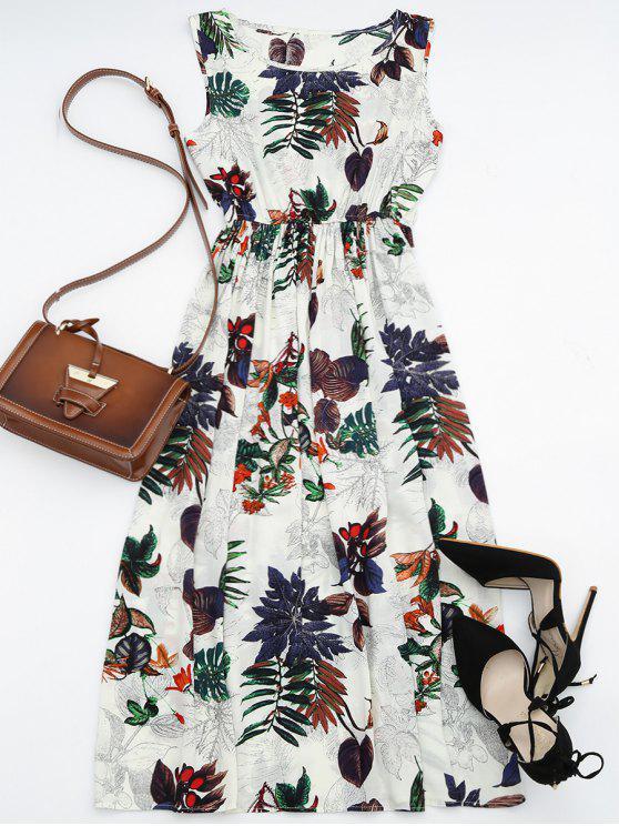 Hohe Taille Blattdruck Maxi Kleid - Blumen L