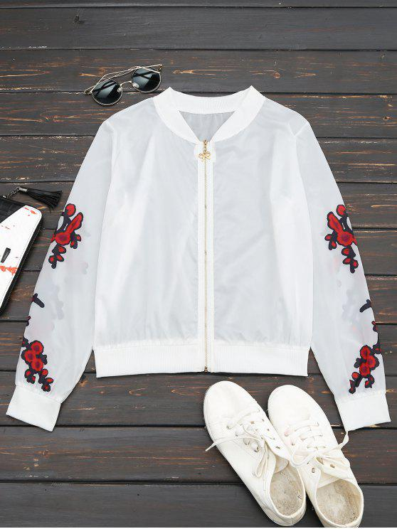 best Floral Print Zip Up Jacket - RED M