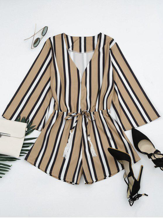 hot Plunging Neck Tassels Striped Romper - STRIPE S