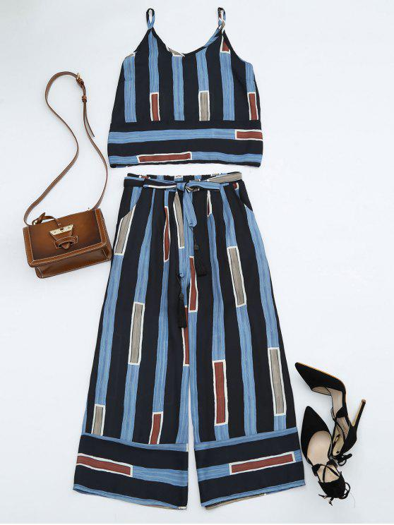 fashion Striped Cami Top with Self Tie Gaucho Pants - STRIPE M