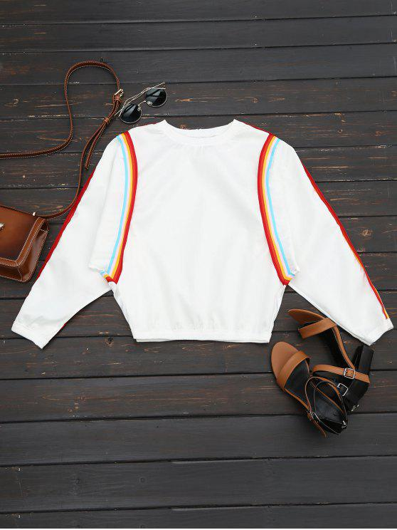 chic Crew Neck Contrast Sweatshirt - WHITE ONE SIZE