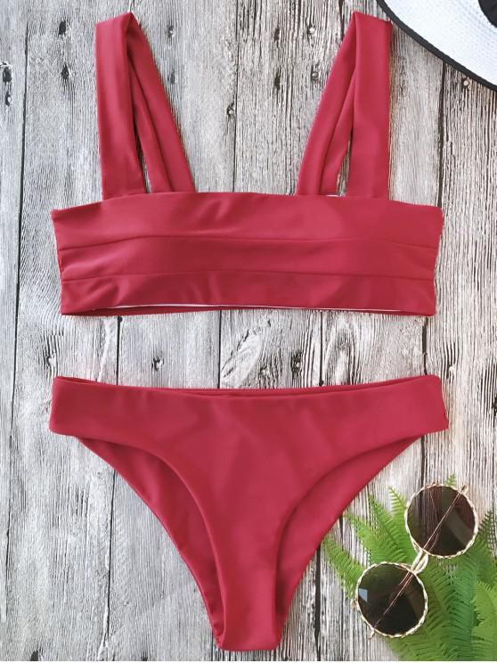 Conjunto de biquíni bandeau acolchoado de cintas largas - Vermelho S