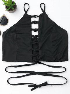 Criss Cross Lace Up Crop Top - Black L
