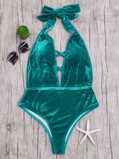 Velvet Plunge Backless One Piece Swimsuit - Malachite Green L