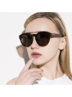 Alloy Embellished Matte Black Sunglasses - Leopard+dark Brown